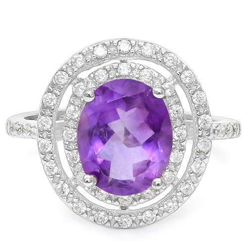 2 1/3 CT AMETHYST & 1/5 CT CREATED WHITE SAPPHIRE 925 STERLING SILVER RING