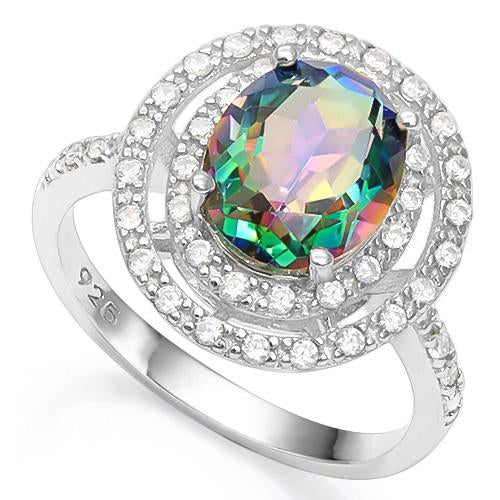 3 CT GREEN MYSTIC GEMSTONE & 1/5 CT CREATED WHITE SAPPHIRE 925 STERLING SILVER RING