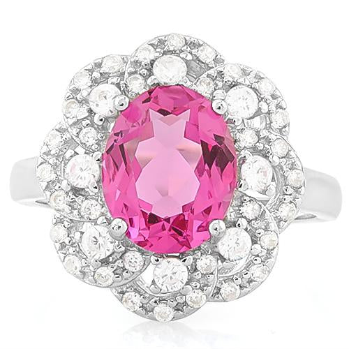 EXQUISITE ! 3 1/2 CARAT CREATED RUBY & 4 CARAT (40 PCS) FLAWLESS CREATED DIAMOND 925 STERLING SILVER RING