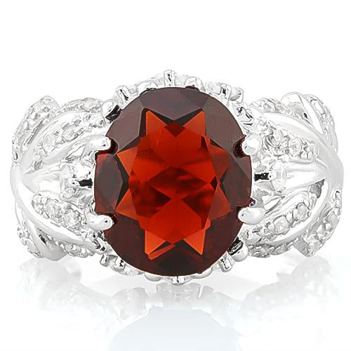 ALLURING ! 5 CARAT CREATED GARNET & 4 CARAT (40 PCS) FLAWLESS CREATED DIAMOND 925 STERLING SILVER RING