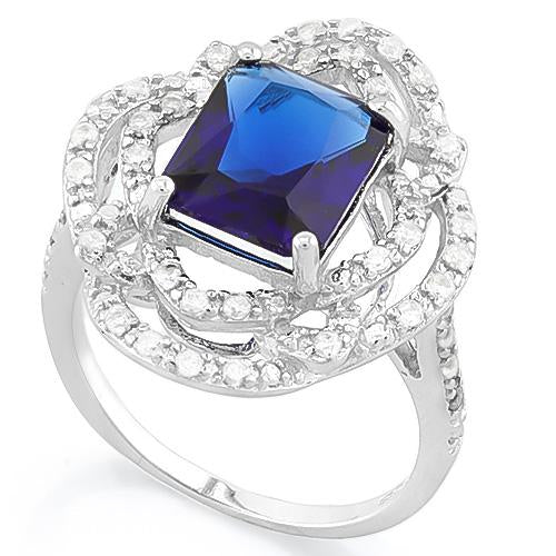 MESMERIZING ! 4.00 CT CREATED BLUE SAPPHIRE & 40PCS CREATED DIAMOND 925 STERLING SILVER RING