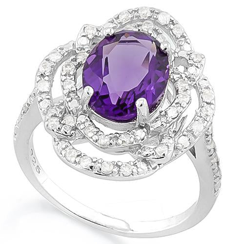 BRILLIANT ! 3 1/2 CARAT CREATED AMETHYST & 4 CARAT (40 PCS) FLAWLESS CREATED DIAMOND 925 STERLING SILVER RING