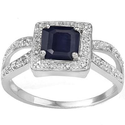 0.72 CARAT TW GENUINE BLACK SAPPHIRE & GENUINE DIAMOND PLATINUM OVER 0.925 STERLING SILVER RING