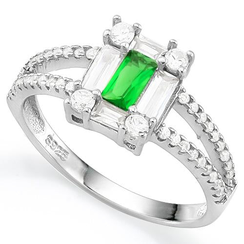 LOVELY CREATED EMERALD 925 STERLING SILVER RING