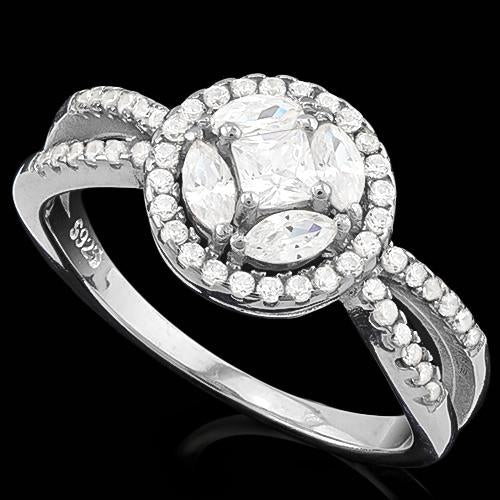 MESMERIZING ! 1 1/2 CARAT (57 PCS) FLAWLESS CREATED DIAMOND 925 STERLING SILVER RING
