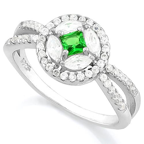 SPARKLING! CREATED EMERALD 925 STERLING SILVER RING