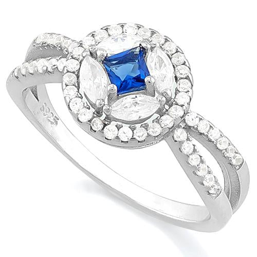 PRETTY! CREATED BLUE SAPPHIRE 925 STERLING SILVER RING