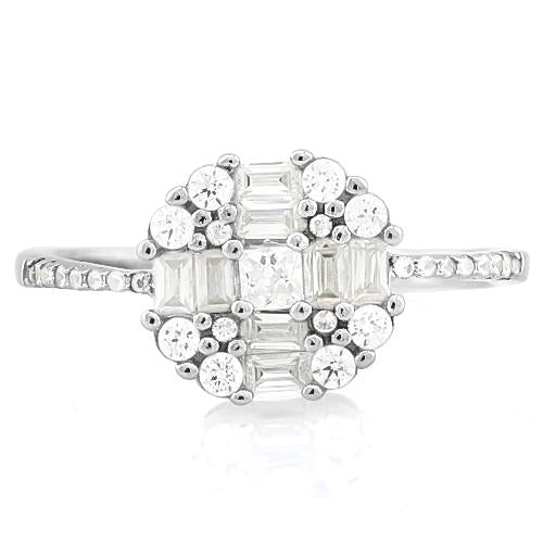CAPTIVATING 1 4/5 CARAT (25 PCS) FLAWLESS CREATED DIAMOND 925 STERLING SILVER RING