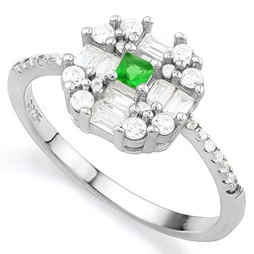 ELITE CREATED EMERALD 925 STERLING SILVER RING