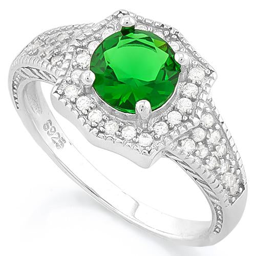 MAGNIFICENT! 1 1/5 CARAT CREATED EMERALD & 2/5 CARAT (40 PCS) FLAWLESS CREATED DIAMOND 925 STERLING SILVER RING