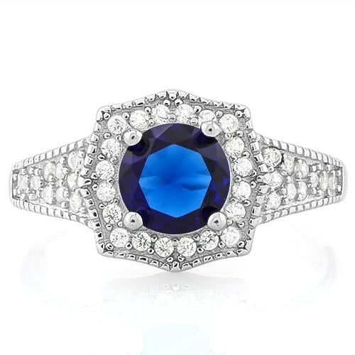 GREAT! 1 1/5 CARAT CREATED BLUE SAPPHIRE & 2/5 CARAT (40 PCS) FLAWLESS CREATED DIAMOND 925 STERLING SILVER RING