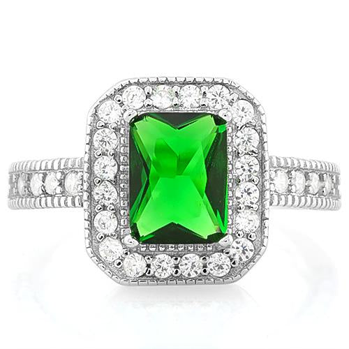 PRICELESS! 1 4/5 CARAT CREATED EMERALD & 1/3 CARAT (34 PCS) FLAWLESS CREATED DIAMOND 925 STERLING SILVER RING