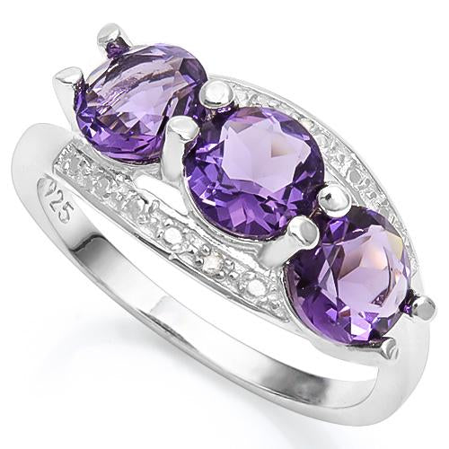 2 1/4 CARAT CREATED AMETHYST & GENUINE DIAMOND 925 STERLING SILVER RING