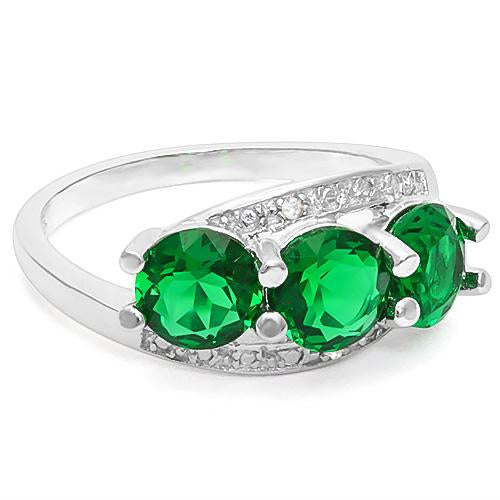 2 1/4 CARAT CREATED EMERALD & GENUINE DIAMOND 925 STERLING SILVER RING