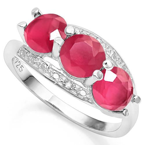 3 3/5 CARAT CREATED RUBY & GENUINE DIAMOND 925 STERLING SILVER RING
