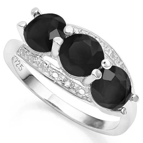 3 3/5 CARAT CREATED BLACK SAPPHIRE & GENUINE DIAMOND 925 STERLING SILVER RING