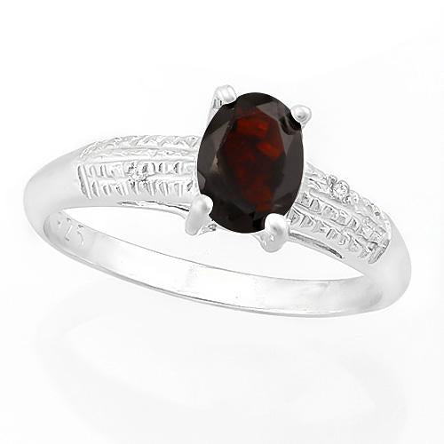 SMASHING ! 4/5 CARAT GARNET & DIAMOND 925 STERLING SILVER RING