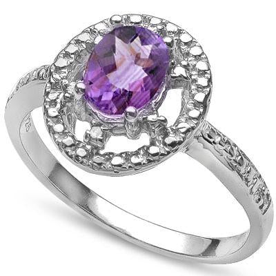 MAGNIFICENT 0.75 CT AMETHYST & 2 PCS WHITE DIAMOND PLATINUM OVER 0.925 STERLING SILVER RING