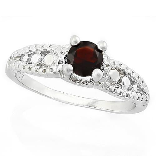 MARVELOUS ! 1/2 CARAT GARNET & DIAMOND 925 STERLING SILVER RING