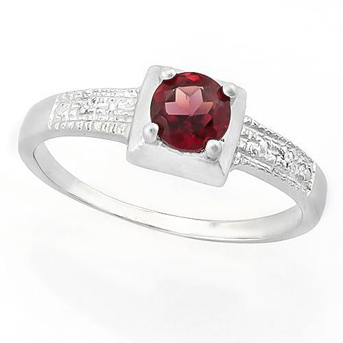 SUPERB ! 3/5 CARAT GARNET & DIAMOND 925 STERLING SILVER RING