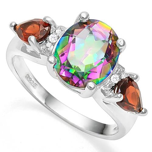 MYSTIC GEMSTONE &  1 CT GARNET 925 STERLING SILVER RING