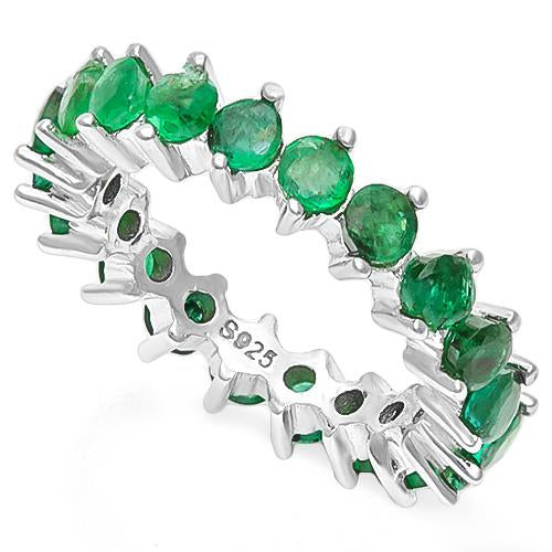 3 2/5 CT  EMERALD  925 STERLING SILVER RING