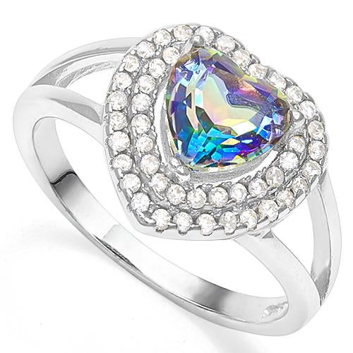 1 1/5 CT OCEAN MYSTIC GEMSTONE &  1/3 CT CREATED WHITE SAPPHIRE 925 STERLING SILVER RING