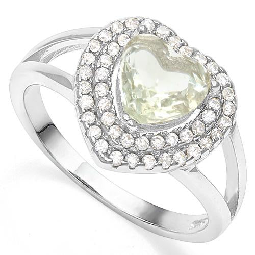 1 CT GREEN AMETHYST &  1/3 CT CREATED WHITE SAPPHIRE 925 STERLING SILVER RING