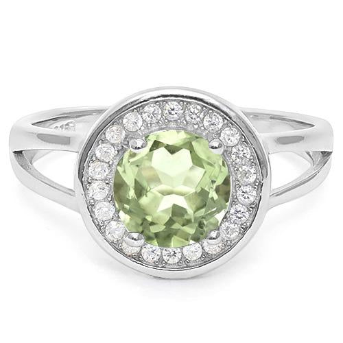 2 CT GREEN AMETHYST & CREATED WHITE SAPPHIRE 925 STERLING SILVER RING