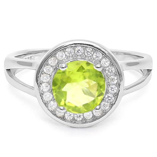 2 1/5 CT PERIDOT & CREATED WHITE SAPPHIRE 925 STERLING SILVER RING