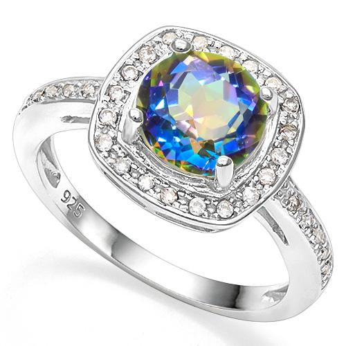 2 1/4 CT OCEAN MYSTIC GEMSTONE & CREATED WHITE SAPPHIRE 925 STERLING SILVER RING