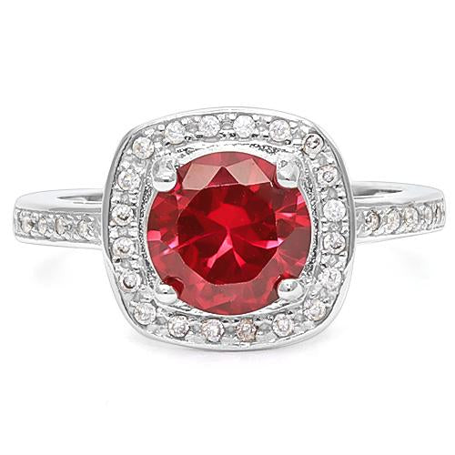 2 2/5 CT CREATED RUBY &   CREATED WHITE SAPPHIRE 925 STERLING SILVER RING