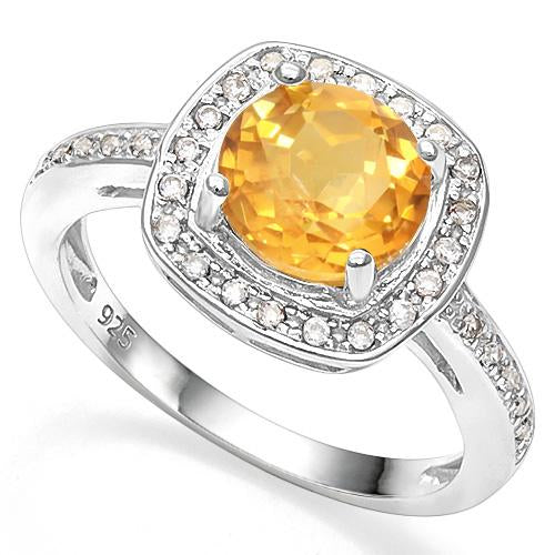 2 1/5 CT DARK CITRINE &   CREATED WHITE SAPPHIRE 925 STERLING SILVER RING