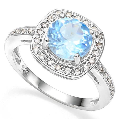 2 1/5 CT BABY SWISS BLUE TOPAZ & CREATED WHITE SAPPHIRE 925 STERLING SILVER RING