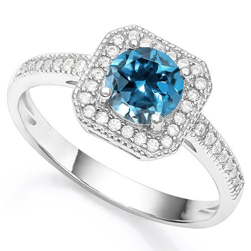 2/3 CARAT CREATED LONDON BLUE TOPAZ & 1/5 CARAT CREATED WHITE SAPPHIRE 925 STERLING SILVER RING