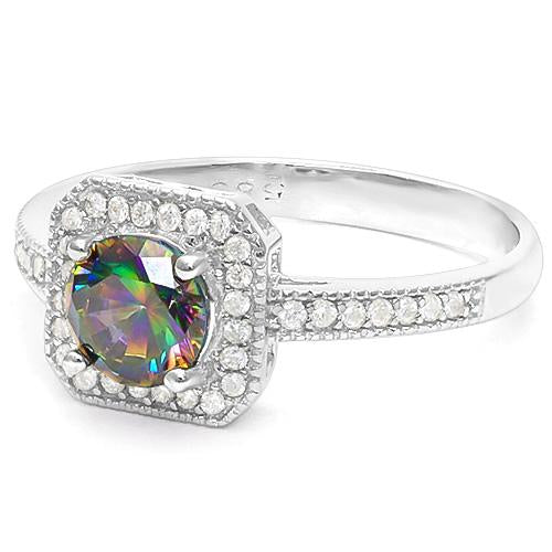 2/3 CARAT CREATED MYSTIC GEMSTONE & 1/5 CARAT CREATED WHITE SAPPHIRE 925 STERLING SILVER RING