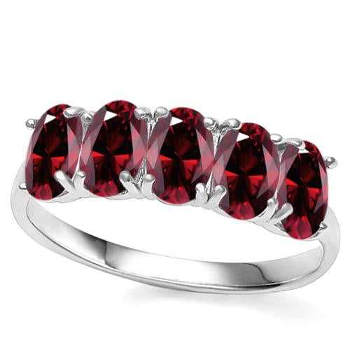 2 CARAT CREATED GARNET 925 STERLING SILVER RING
