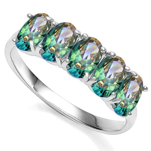2 CARAT CREATED GREEN MYSTIC GEMSTONE 925 STERLING SILVER RING