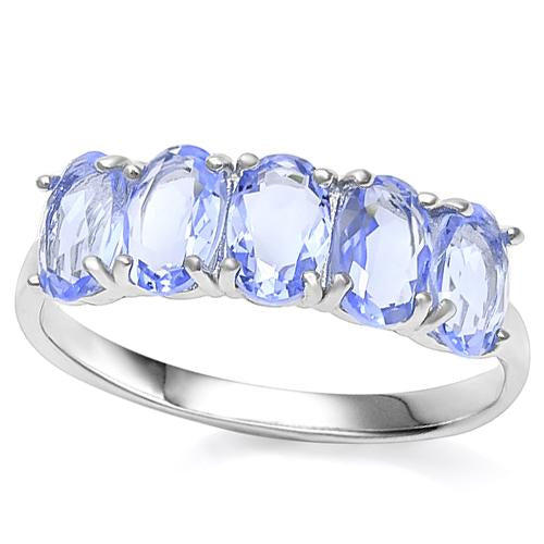 2 CARAT LAB TANZANITE   925 STERLING SILVER RING
