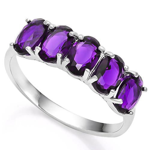 2 CARAT CREATED AMETHYST 925 STERLING SILVER RING