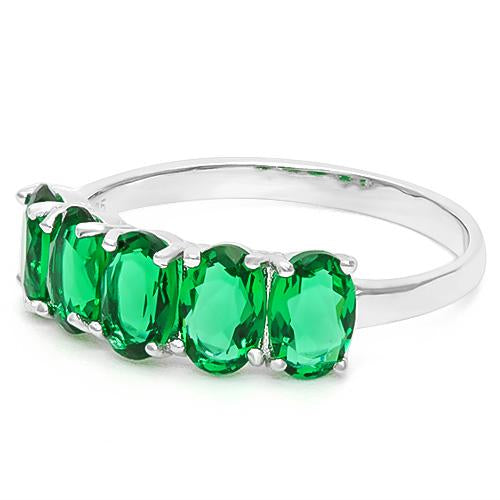 2 CARAT CREATED EMERALD 925 STERLING SILVER RING