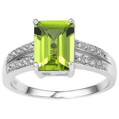 ALLURING 2.23 CT PERIDOT & 20 PCS WHITE DIAMOND 10K SOLID WHITE GOLD RING