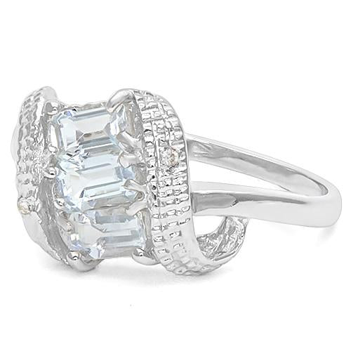 4/5 CT AQUAMARINE & DIAMOND 925 STERLING SILVER RING