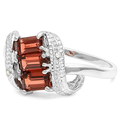 1 CT GARNET & DIAMOND 925 STERLING SILVER RING