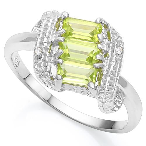 1 CT PERIDOT & DIAMOND 925 STERLING SILVER RING