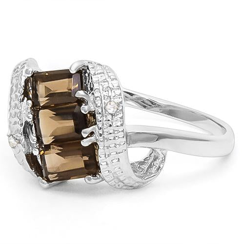 1 CT SMOKEY TOPAZ & DIAMOND 925 STERLING SILVER RING