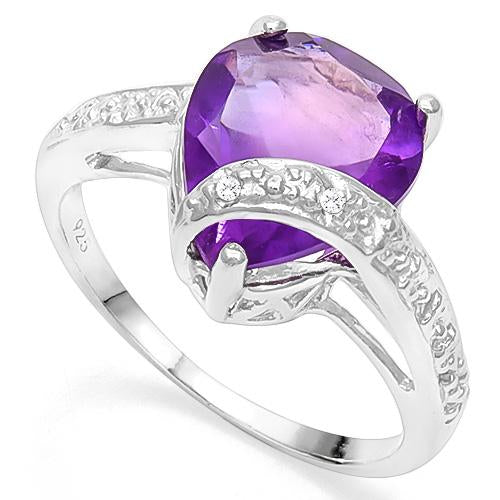 3 4/5 CT AMETHYST & DIAMOND 925 STERLING SILVER RING