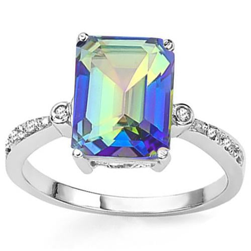 3 CT OCEAN MYSTIC GEMSTONE & DIAMOND 925 STERLING SILVER RING