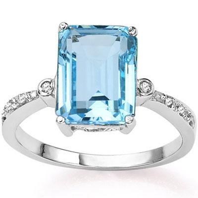 3 4/5 CT BABY SWISS BLUE TOPAZ & DIAMOND 925 STERLING SILVER RING