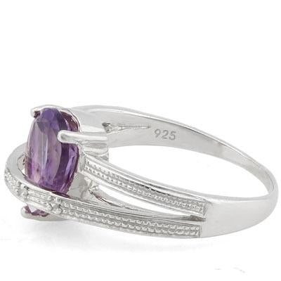 1 3/5 CT AMETHYST & DIAMOND 925 STERLING SILVER RING